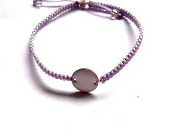 sequin enamelled white and lilac macrame bracelet