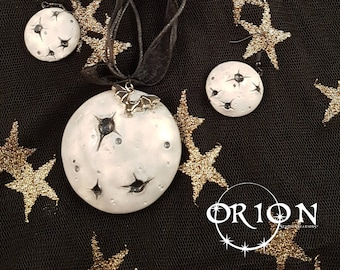 Lunar Necklace and Earring Set, Moon Jewellery, Polymer Clay