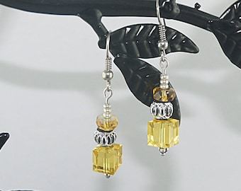 Topaz and citrine, colored with silver Swarovski Crystal EARRINGS