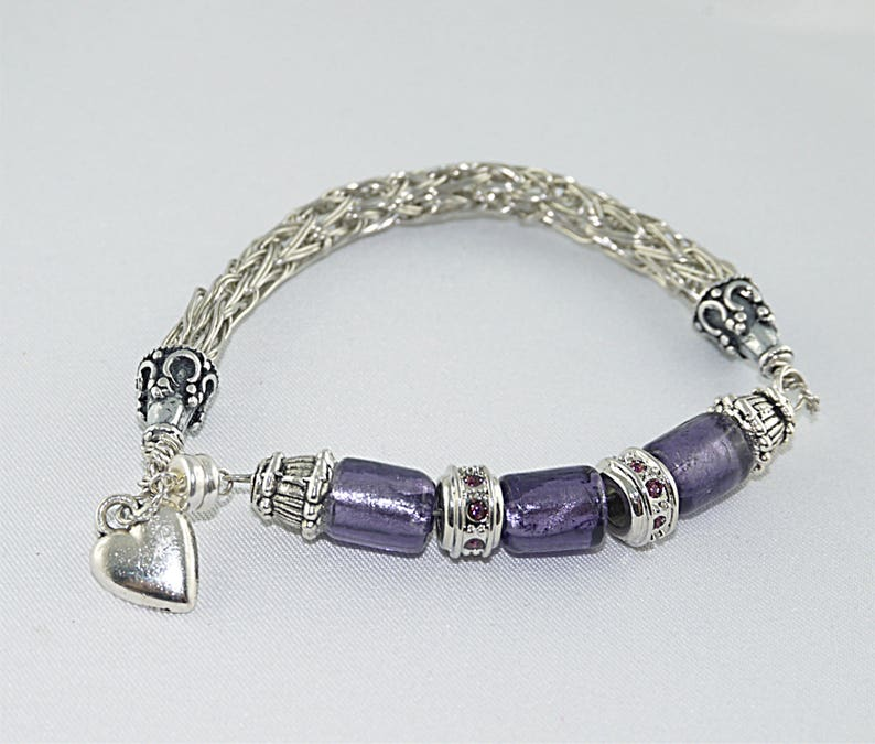 VIKING antique purple glass BEAD link BRACELET