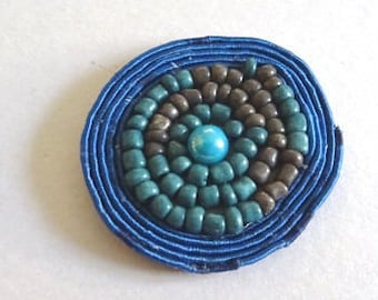 Ethnic print and blue seed bead