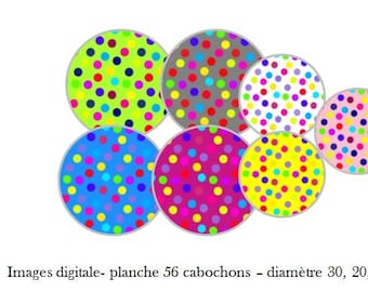 "Digital images ""Confetti"" - Board 56 for 30 20 14, 10 mm cabochon"