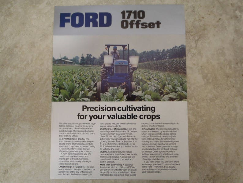 Ford 1710 Offset Tractor Literature