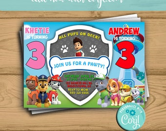 Paw Patrol Invitation Birthday Party Twins Sibling Instant Download
