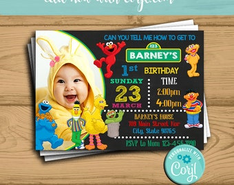 Sesame Street Birthday Invitation Instant Download Party With Photo