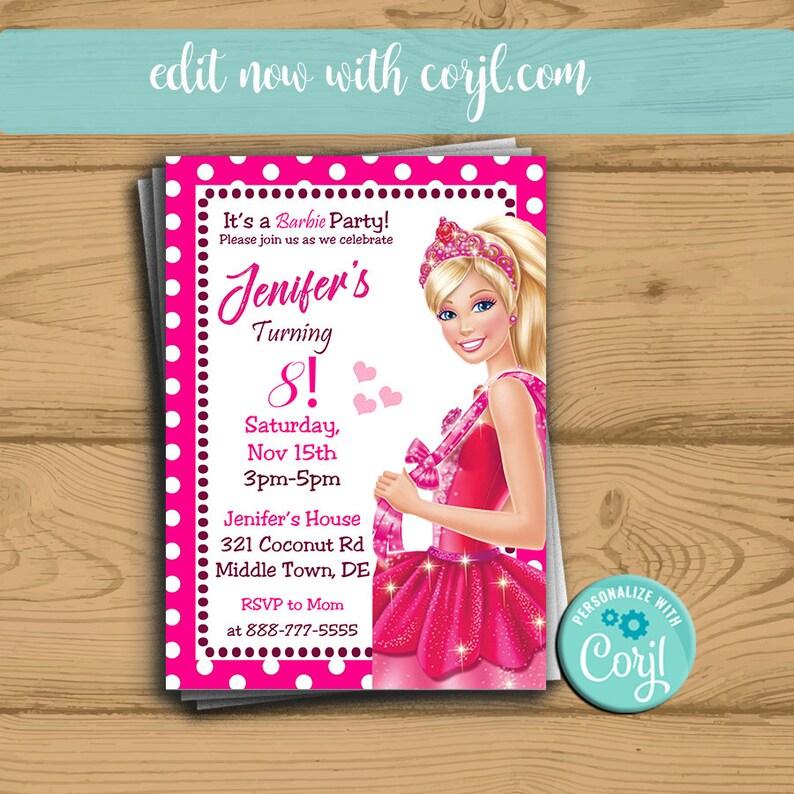 Barbie Invitation Birthday Disney Party Invite