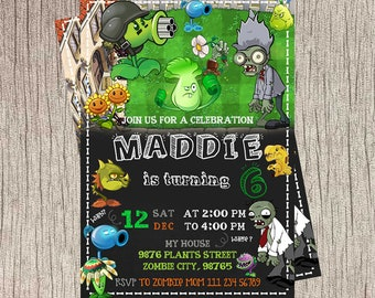 Plants Vs Zombies  Invitations, Plants Vs Zombies  Birthday, Plants Vs Zombies  Birthday Invitations, Plants Vs Zombies  Birthday Party