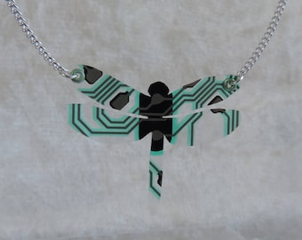 Dragonfly, recycling soft circuit board necklace silver necklace