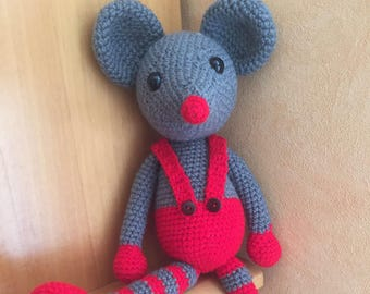 Toy plush grey mouse hooked handmade 40 cm