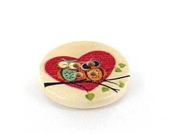 BBR30 - 6 buttons round 30 Mm wood with owls pattern