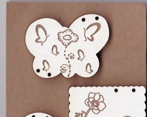 """Buttons handmade wooden """"Butterfly"""" pattern plate"""