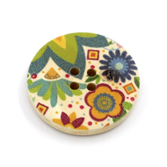 BBR30293 - 6 round buttons with colorful wooden 30 mm