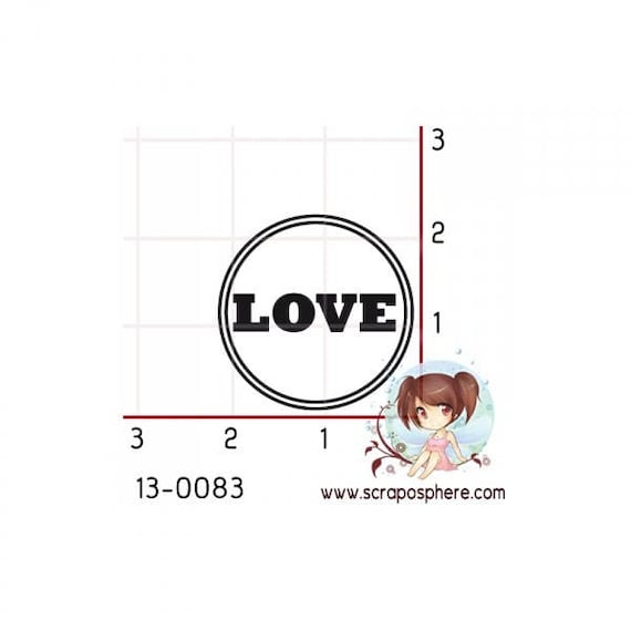 "SCR64 rubber stamp to assemble pattern ""love"""