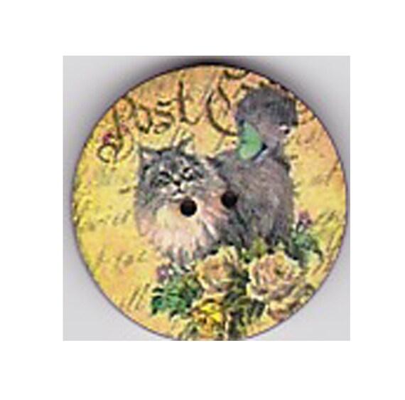 Grey button cat wood craft heart Princess