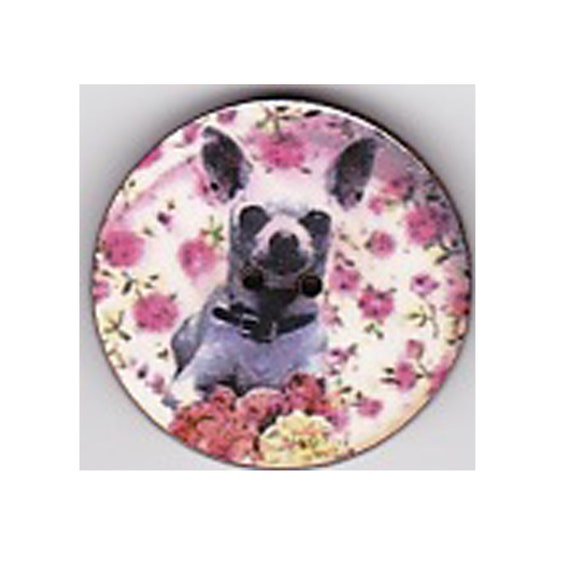 Button Chihuhaha wood handcrafted Princess heart