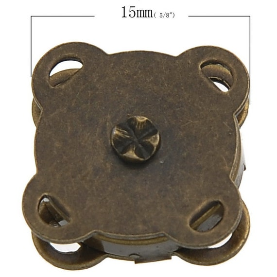 set of 5 clasps sewing - bronze - size: 15 mm