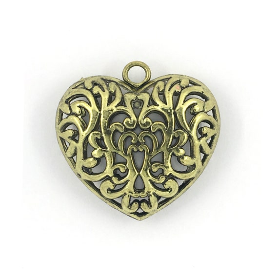 """Great charm - gold color """"3D heart"""""""
