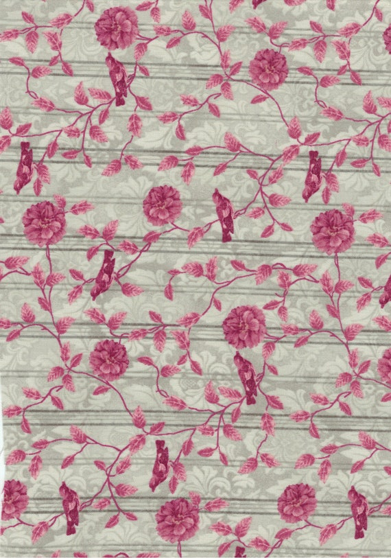 Floral cotton fabric coupon