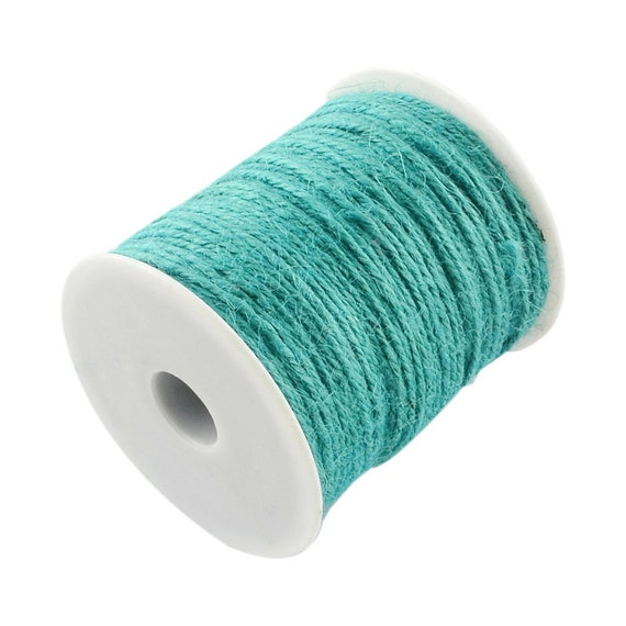 String of hemp - 6 M - turquoise - 2 mm thick