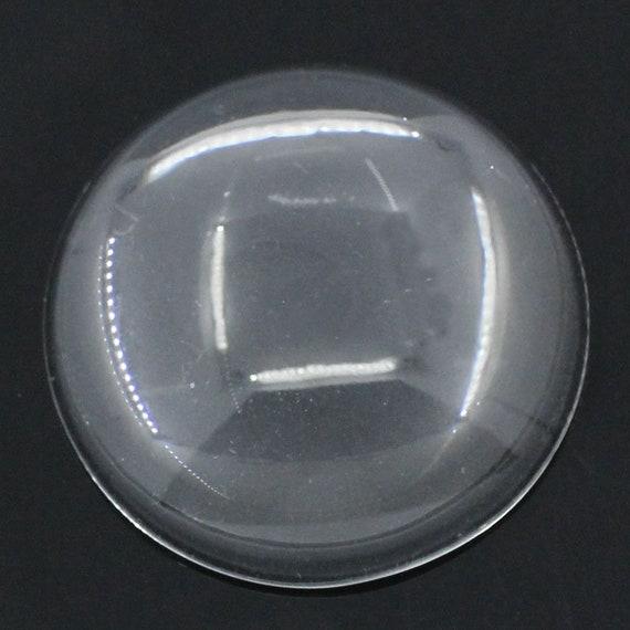 Set of 3 glass transparent cabochons 30 mm