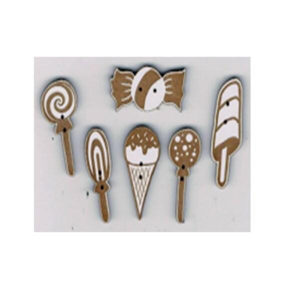 """Buttons craft Board wood pattern """"lollipop"""""""