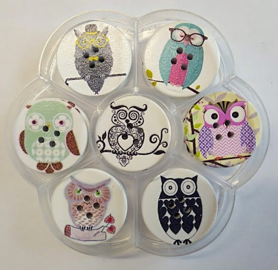 Owls - assorted wood buttons