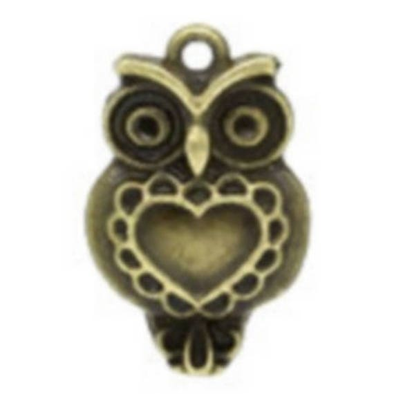"""Set of 5 charms bronze """"OWL"""" size 14 x 23 mm"""