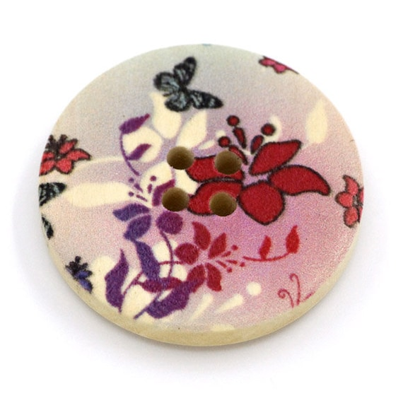 BBR30285 - 6 round buttons with colorful wooden 30 mm