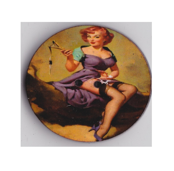 red button pinup wood handcrafted Princess heart