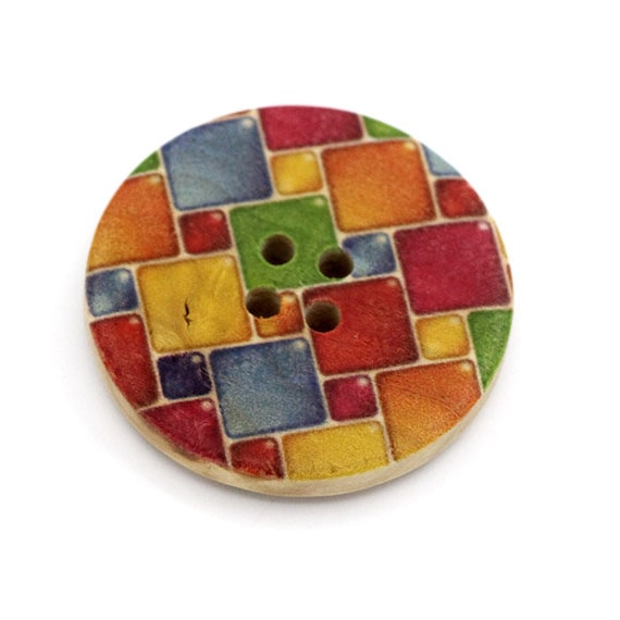 BBR30299 - 6 round buttons with colorful wooden 30 mm
