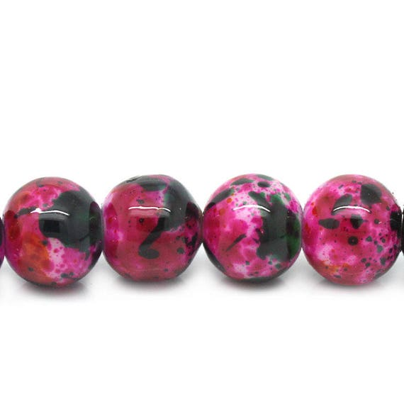 Set of 10 glass beads - pink and Black - 8 mm