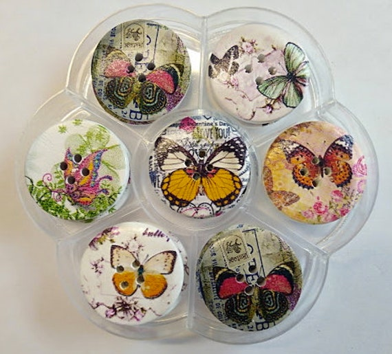 Butterflies - assorted wood buttons