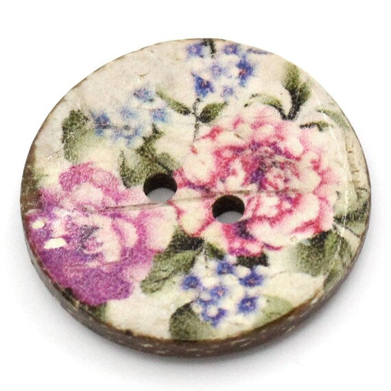 BCO25100 - colorful coconut 4 round buttons 25 MM