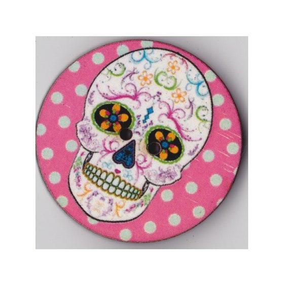Skull button rose wood handmade Princess of hearts