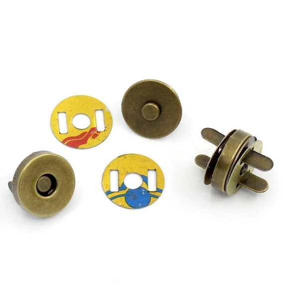 set of 5 magnetic clasps - bronze - size: 14 mm
