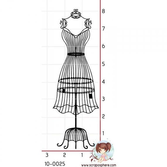 SCR4 antique mannequin rubber stamps - fashion