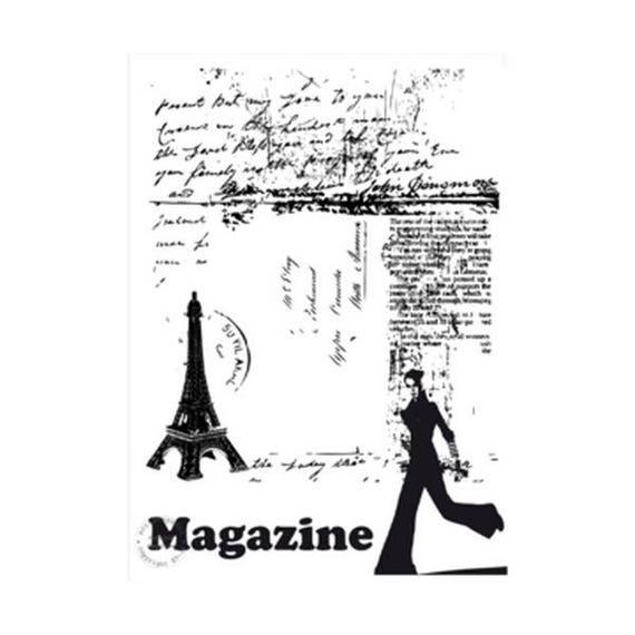 SCR15 stamp Paris magazine rubber mount - fashion
