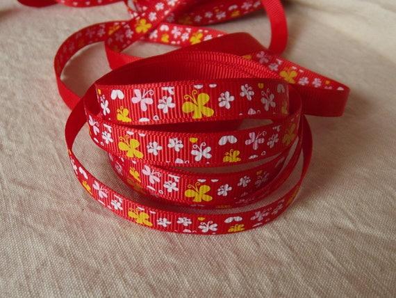 R25 - Ribbon grosgrain red butterflies - 10 mm - 2 M