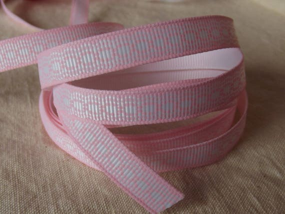 R43 - Grosgrain Ribbon pink light effect white embroidery - 10 mm - 2 M