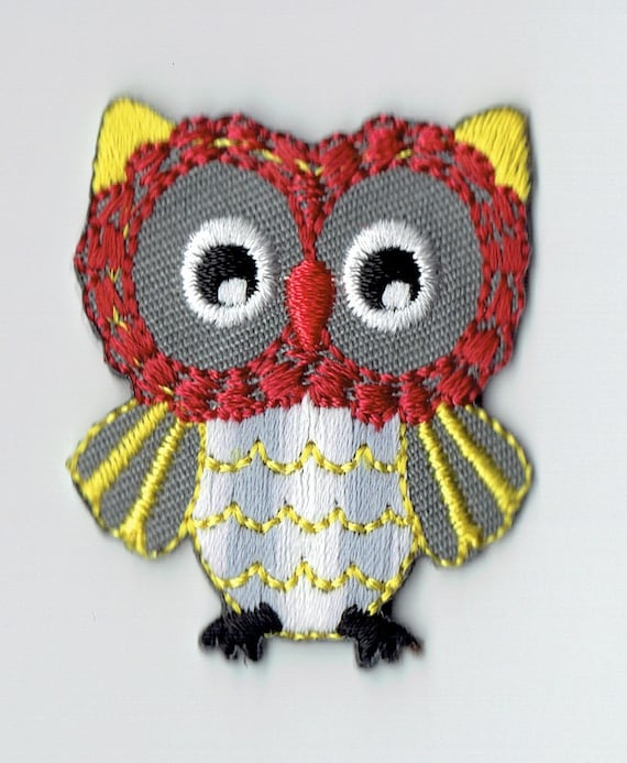 "Patch fusible trendy red and yellow ""OWL"" pattern"