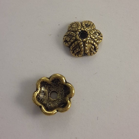 Set of 10 caps - gold color - 10 mm