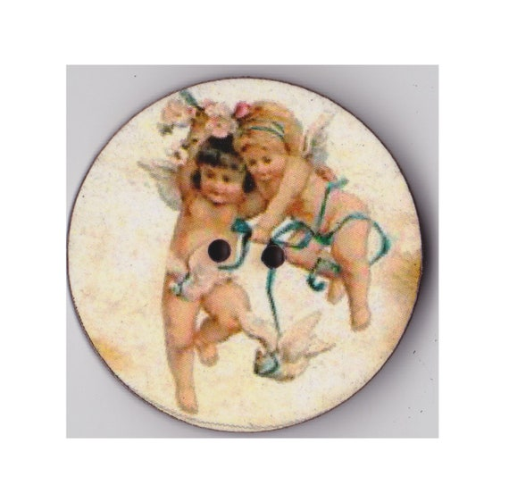 2 cherubs button wood handcrafted Princess heart
