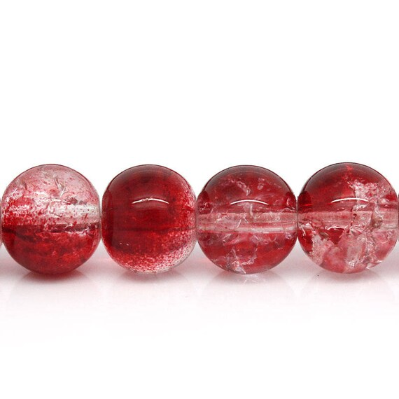 Set of 10 glass beads - red and clear - 7 mm