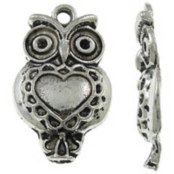 """Set of 5 """"OWL"""" charms silver size 14 x 23 mm"""
