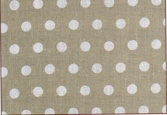 Fabric polka dot - LOZENGE taupe coupon 45 x 50 cm 100% linen