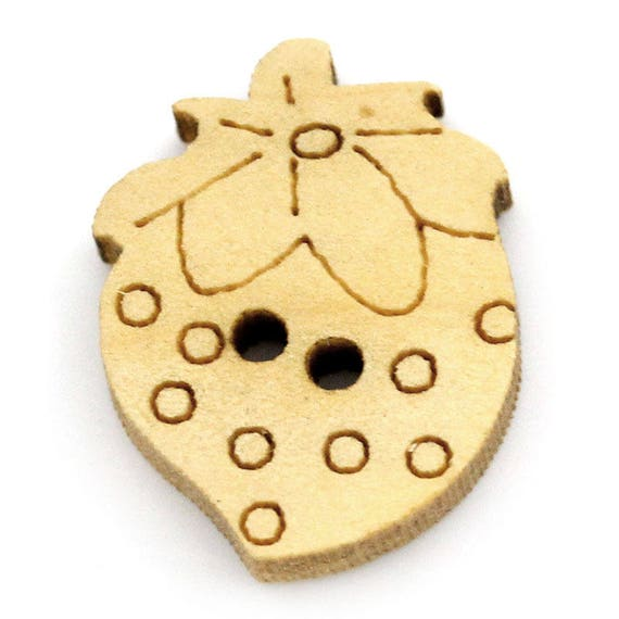 """BBN222 - 6 wooden buttons natural pattern """"Strawberry"""""""