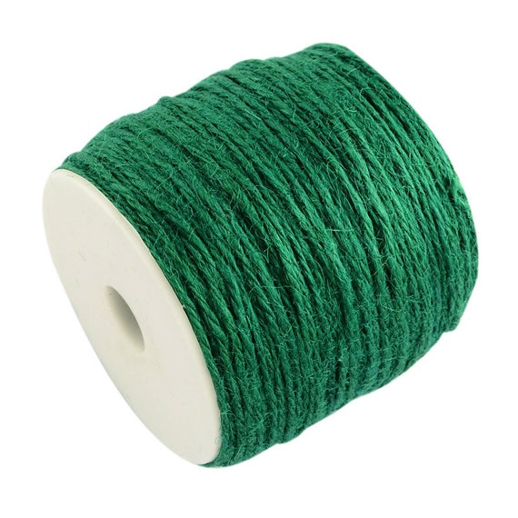 Hemp twine - 6 M - pine green color - 2 mm thick