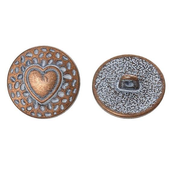 Set of 2 metal - blue heart pattern - 18 mm buttons