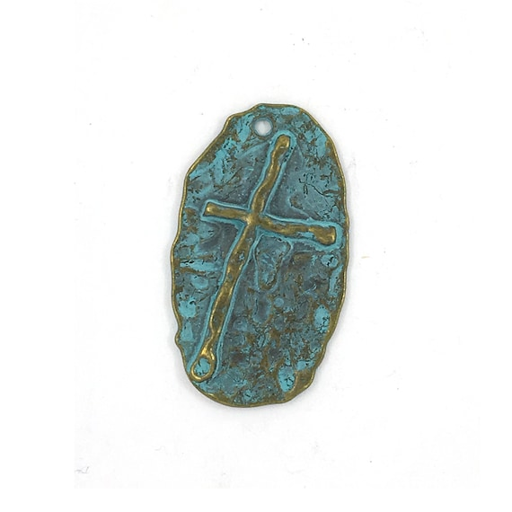"Great find charms - blue ""cross"""