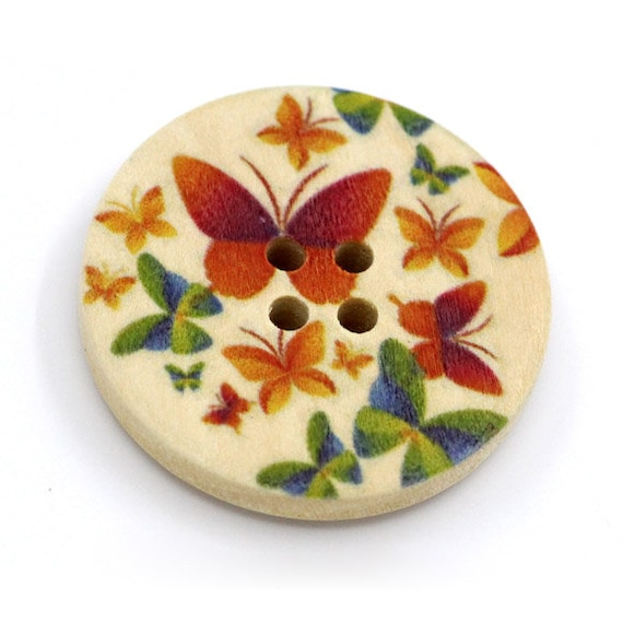 BBR30304 - 6 round buttons with colorful wooden 30 mm
